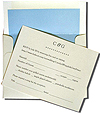 A2 card with metallic blue lined envelopes