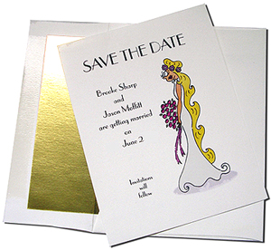 White Card with Gold Foil Lined Envelope
