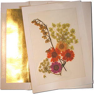 A7 Cream Cards with Gold Foil Lined Envelopes