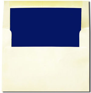 Cream with Navy Blue Lined Envelopes