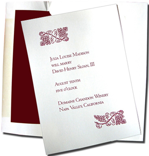 A7 White Cards with Burgundy Lined Envelopes