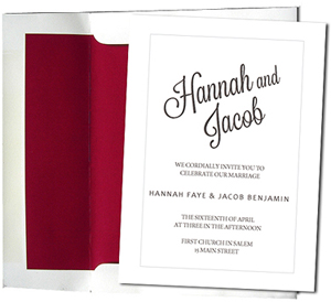 A7 White Cards with Crimson Red Lined Envelopes