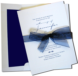 A7 White Cards with Navy Blue Lined Envelopes