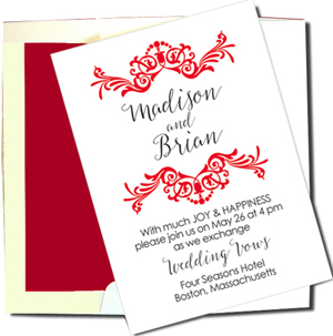 A7 White Cards with Red Lined Envelopes