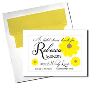 A7 White Cards with Sunny Yellow Lined Envelopes