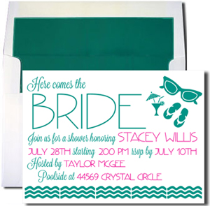 A7 White Cards with Teal Lined Envelopes