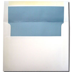 A7 White with Metallic Blue Lined Envelopes