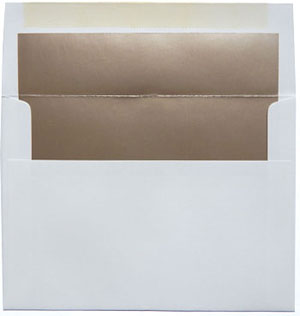 A7 White with Metallic Bronze Lined Envelopes