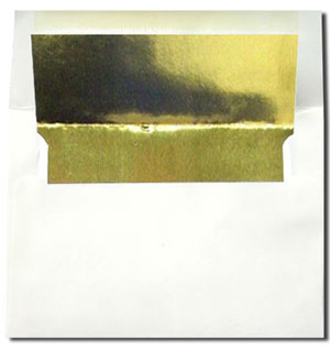 White with Gold Foil Lined Envelopes