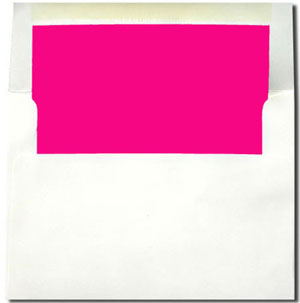 A7 White with Hot Pink Lined Envelopes