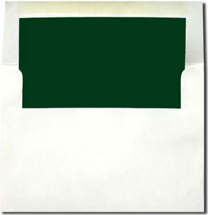 White with Hunter Green Lined Envelopes
