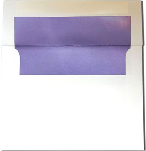 White with Lilac Purple Lined Envelopes