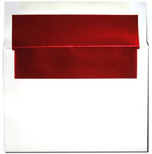 A7 White with Red Foil Lined Envelopes