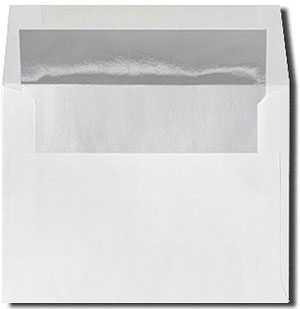 White with Silver Foil Lined Envelopes