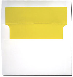 A7 White with Sun Yellow Lined Envelopes