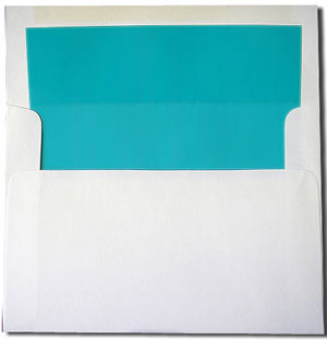 A7 White with Turquoise Blue Lined Envelopes