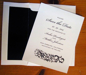 We custom print Save the date cards and envelopes
