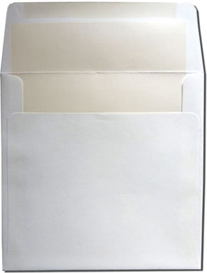 Square White with White Pearl Lined Envelopes 25¢ each