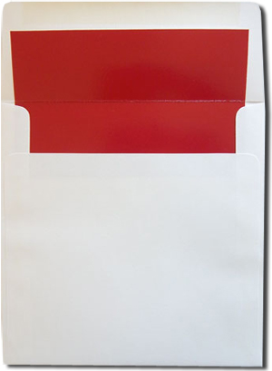 Square White with Red Lined Envelopes 25¢ each