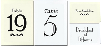 Blank Card Stock for Table Numbers