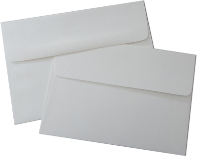 White A7 Double Formal or Wedding Envelope Sets with Straight Flaps
