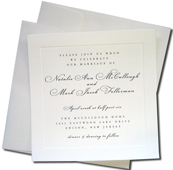 25 Square White Cards with 25 Double Wedding Envelopes